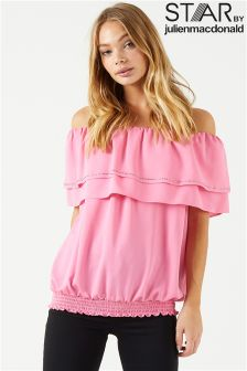 Star By Julien Mcdonald Double Frill Bardot Top