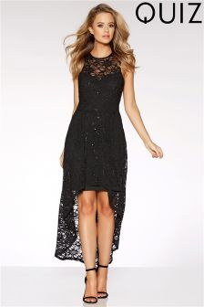 Quiz Lace Dip Hem Dress
