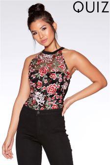 Quiz Rose Embroidered Mesh Bodysuit
