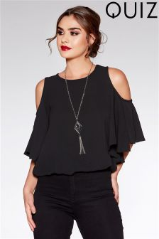 Quiz Crepe Cold Shoulder Necklace Top