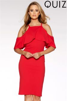 Quiz Cold Shoulder Frill Bodycon Dress