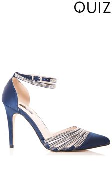 Quiz Diamanté Strap Pointed Court Heels