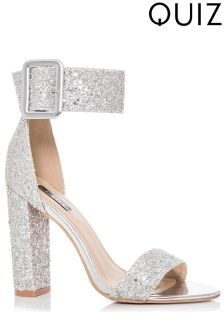 Quiz Glitter Buckle Heeled Sandals