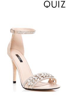 Quiz Jewel Strap Barely There Heeled Sandals