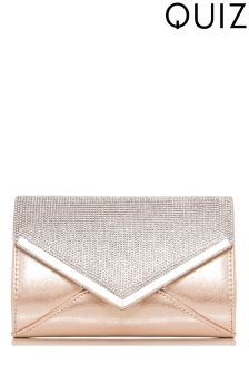 Quiz Shimmer Diamante Envelope Bag