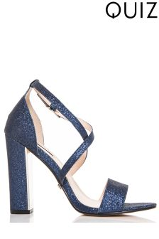 Quiz Glitter Block Heel Sandals