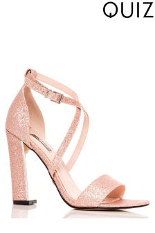 Quiz Glitter Cross Block Heel Sandals