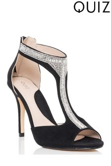 Quiz Jewel T-bar Peep Toe Heel Sandals