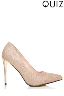 Quiz Glitter Pointed Court Heels