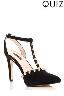 Quiz Diamante Stud T-bar Court Heels
