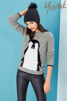 Yumi Fluffy Penguin Jumper