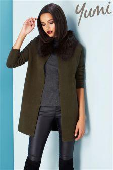 Yumi Faux Fur Long Cardigan