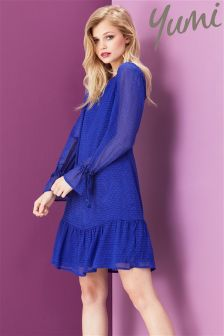 Yumi Flare Sleeve Dobby Dress