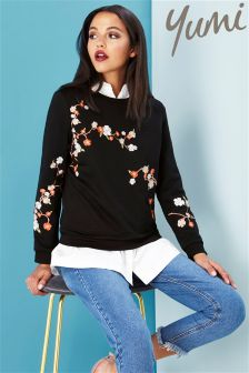 Yumi Oriental Blossom Embroidered Sweatshirt