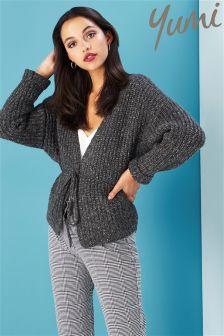 Yumi Cropped Knit Wrap Jacket