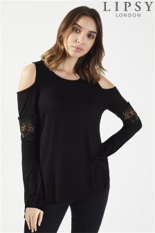 Lipsy Cold Shoulder Lace Insert Top