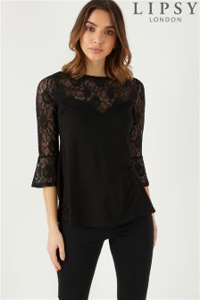 Lipsy Lace Insert Flute Sleeve Top
