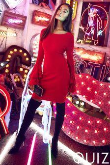 Quiz Light Knit Double Frill Bodycon Dress