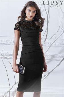 Lipsy Lace Top Pleated Bodycon Dress