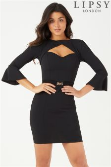 Lipsy Keyhole Neck Belted Bodycon Dress