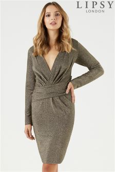 Lipsy Lurex Long Sleeve Wrap Dress