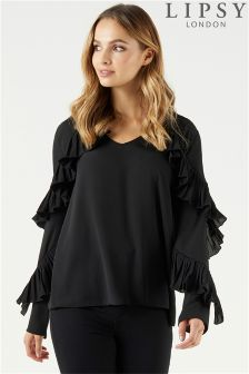 Lipsy Pleated Ruffle Long Sleeve Blouse