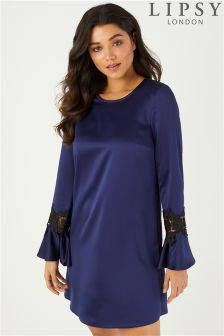 Lipsy Lace Insert Flute Sleeve Shift Dress