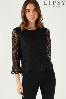 Lipsy All Over Lace Flute Sleeve Top