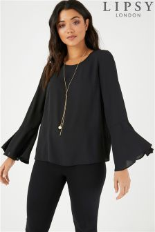 Lipsy Fluted Sleeve Top With Pearl Necklace