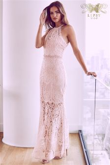 Lipsy VIP All Over Lace Halter Maxi Dress