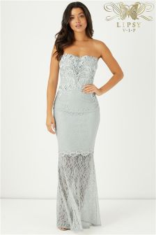 Lipsy VIP Embellished Lace Bandeau Maxi Dress