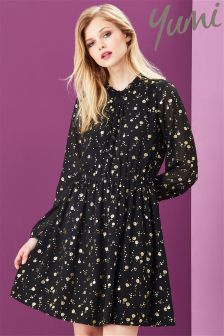 Yumi Foil Printed Shift Dress