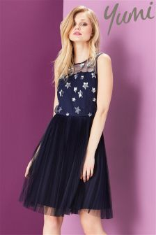 Yumi Embroidered Star Mesh Dress