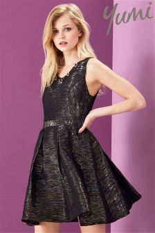 Yumi Embellished Metallic Party Dress