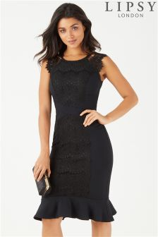 Lipsy Petite Lace Panel Midi Dress