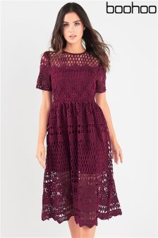 Boohoo Lace Panelled Skater Dress