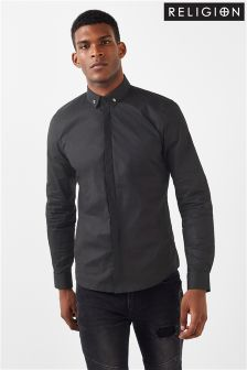 Religion Long Sleeve Collar Shirt