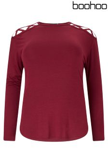 Boohoo Plus Long Sleeve Lace Up Detail Tee