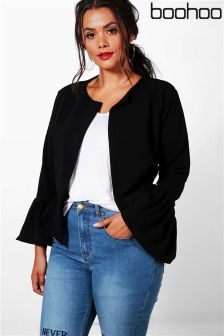 Boohoo Plus Ruffle Hem Collarless Jacket