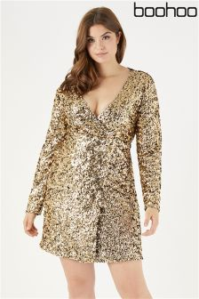 Boohoo Plus Sequin Wrap Long Sleeve Bodycon Dress