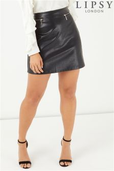 Lipsy Zip PU Mini Skirt