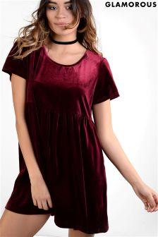 Glamorous Curve Velvet Skater Dress
