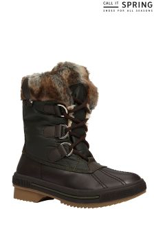 Call It Spring Ladies Ankle Lace Up Faux Fur Boot