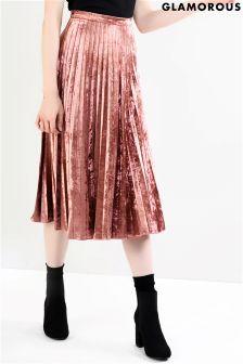 Glamorous Velvet Pleated Midi Skirt