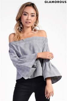 Glamarous Bardot Check Top