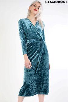 Glamorous Velvet Wrap Front Midi Dress