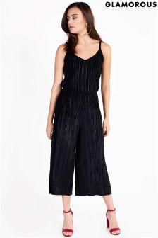 Glamorous Cami Velvet Pleated Jumpsuit