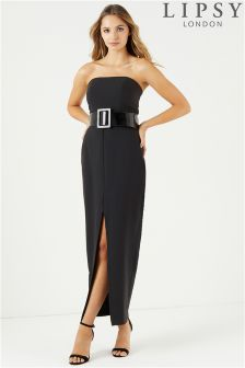 Lipsy Belted Bandeau Maxi Dress