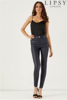 Lipsy Kate Navy Coated Skinny Jeans