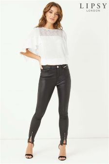 Lipsy Kate Super Stretch Coated Ankle Zip Skinny Jeans